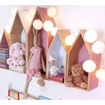 Nordic Style House Wooden  Children Living Room Shelving Home Decoration Wall Hanging Set Large Size +Small Size