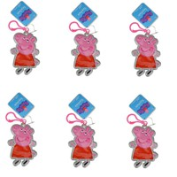6 Piece Party Favors Peppa Pig Shaped Keychain Printed PVC Zipper Pulls