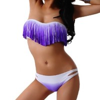 Blooms Women Fringe Full-Lined Flirty Bikini Set (Small, White and Purple)