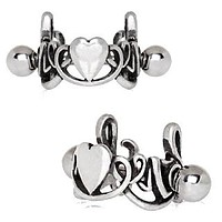 316L Stainless Steel LOVE Script with Heart Cartilage Ear Cuff
