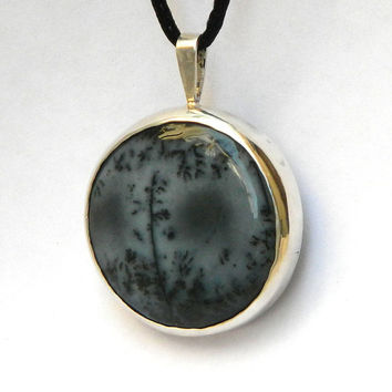 Zen of a Winter Forest unique merlinite pendant statement sterling silver jewelry