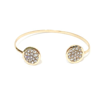 Crystal Ball Bangle Bracelet In Gold