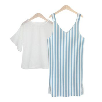 Summer New Style  Women's Clothing Loose Stripe Two-piece Dress Round Neck Butterfly Sleeve Tops Pinafore Dress