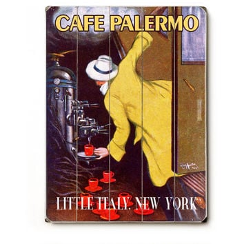 New York Cafe Palermo Wood Sign