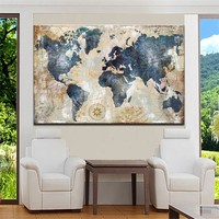 Wall Decoration Watercolor World Map Wall Art Canvas Posters and Print Canvas Painting Pictures for Living Room Home Decor
