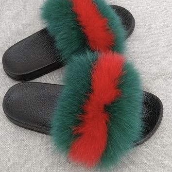 Luxury comfy fuzzy fluffy fur slides slippers