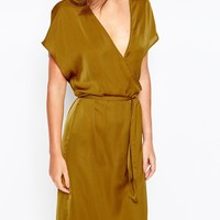 First & I Gold Wrap Front Dress