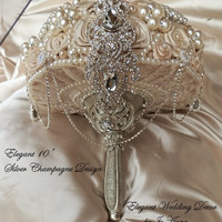 CHAMPAGNE BROOCH BOUQUET - Deposit for this Elegant Brooch Bouquet,  Bouquet , Wedding Bouquet, Brooch bouquet