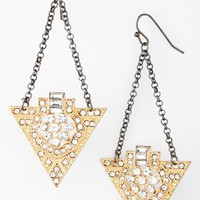 Women's Panacea Art Deco Drop Earrings - Gold
