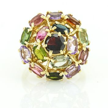 Estate Jewelry Retro Gemstone Flower Cluster Ring in 14k Yellow Gold, Size 9.5