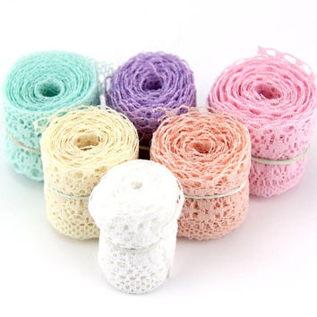 10Yard Lot 6 Colors New Selling High Quality Lace Ribbon Width 35MM DIY Embroidered Net Lace Trim Fabric For Sewing Decoration