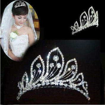 Stunning Bridal Rhinestone Peacock Pattern Crown Hair Comb Pin Tiara Hair Jewelry