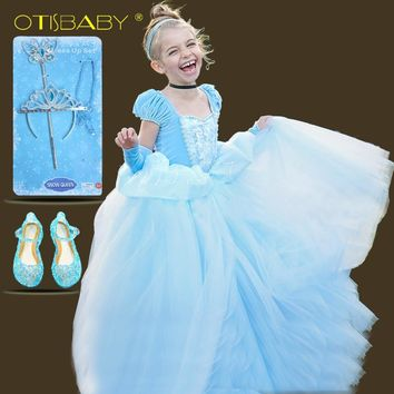 0505364b8ab Girls Blue Ball Gown New Movie Princess Cinderella Cosplay Costu