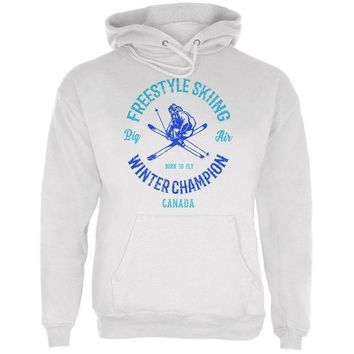 PEAPGQ9 Winter Games Freestyle Skiing Champion Canada Mens Hoodie