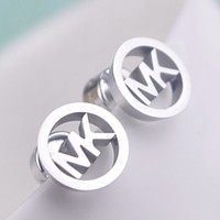 MK Michael Kors Fashion New Round Letter Personality Earring Women Silver