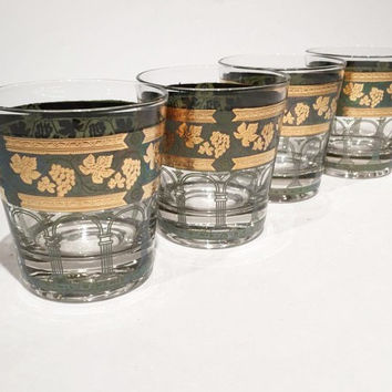 Set of 4 Golden Cera Glasses, Cera Gold Green Grapes Barware, Golden Grapes & Columns Lowball Rocks Glasses, Hollywood Regency Mad Men