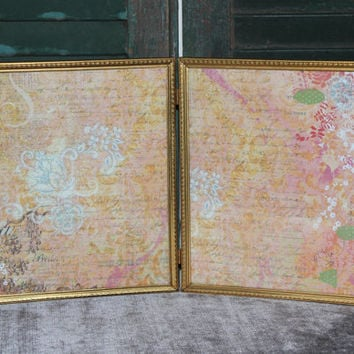 Yellow gold vintage metal hinged 8x10 double picture frame - Gold frames, vintage frames, gold decor