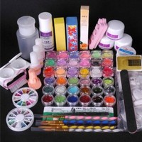 Amazon.com: 350buy 36 Acrylic Powder Liquid KITS Primer UV NAIL ART TIP Set Dust Stickers Brush: Beauty