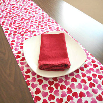 Valentine Table Runner Valentines Day Decor Hearts Red Pink White Reversible