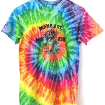 Make Art, Not War Bright Rainbow Tie-Dye Graphic Unisex Tee