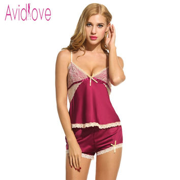 Avidlove Women Sexy Pajamas Set Sleepwear Summer Spaghetti Strap Tops and Panties Underwear Ladies Cute Nightwear Lace Nightgown