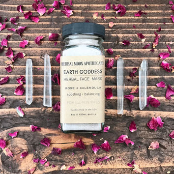 Earth Goddess • herbal face mask • gentle and soothing • all skin types • 4oz glass bottle