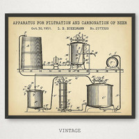 Beer Art, Carbonation of Beer Patent Print, Beer Poster, Beer Party Decorations, Vintage Beer Man Cave, Gift For Him, Beer Invention Poster