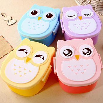 Kawaii Candy Color Owl Lunch Container Microwave Oven Bento Container Case Dinnerware Children's Birthday Gift
