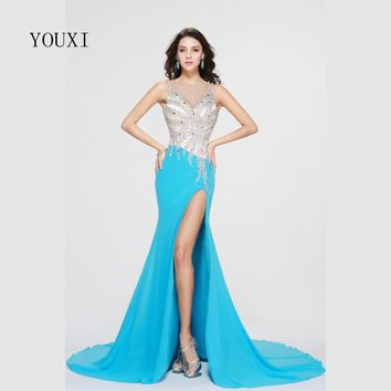 Blue Chiffon Sexy High Slit Long Prom Dresses 2017 New Fashin Crystal Beaded Formal Evening Gowns PD56