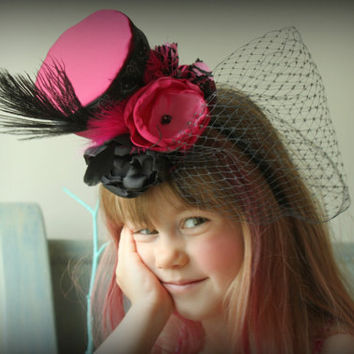 Mini Top Hat in Fuschia Satin with Black Feathers and Birdcage Lace Veil for Mad Hatter tea Parties - Weddings - Dress up - Photo Prop