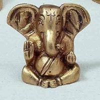 Triloka - Ganesh Statue Recycled Brass - 1.75 in.