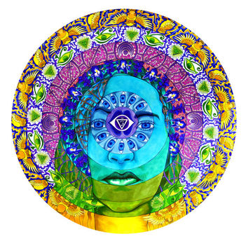 Anja, Third Eye Chakra Print (Trippy Psychedelic Spiritual Colorful Marker Mandala Wisdom Drawing with Symbols, Owls)