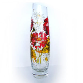 Hand Painted Glass Vase- Decorative Glass ART