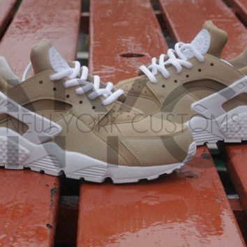 Beige Nike Huarache Run Triple White Custom