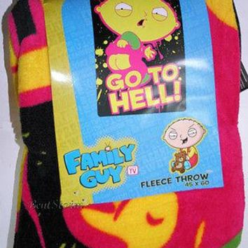 Licensed cool RARE NEW Family Guy STEWIE BABY GO TO HELL COZY Fleece Plush Throw Blanket 45X60