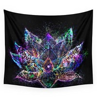 "Society6 Lotus Flower Glow Wall Tapestry Small: 51"" x 60"""