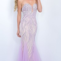 Long Beaded Strapless Sweetheart Prom Dress by Blush