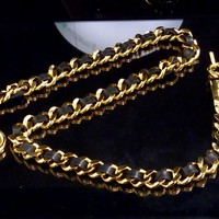 100% Auth CHANEL Chain Leather Chain Belt Coco Mark G882