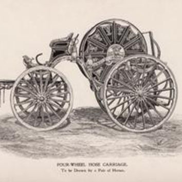 Four-Wheel Hose Carriage: To be Drawn by a Pair of Horses: Fine art canvas print (12 x 18)