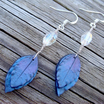 Purple and Blue Earrings Polymer Clay Dangle Leaf by JustClayin