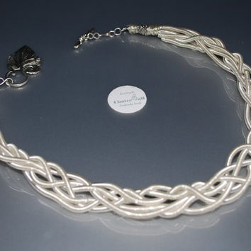 braided silver plated wire necklace