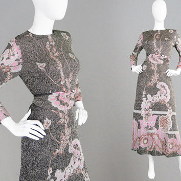 Vintage PIERRE CARDIN 70s Maxi Dress Gold Lurex Long Floral Dress Jersey Couture Dress Glittery Dress Sparkly Evening Gown Oriental Print