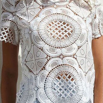 White Short Sleeve Floral Lace Top
