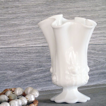 Vintage Milk Glass Vase Ruffled Edge Floral by LetterKay on Etsy