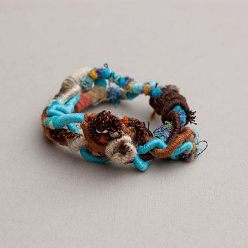 Chunky fiber bracelet, hand wrapped art jewelry, brown orange turquoise, OOAK