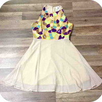 Ivory Dress with Purple Sequins Top