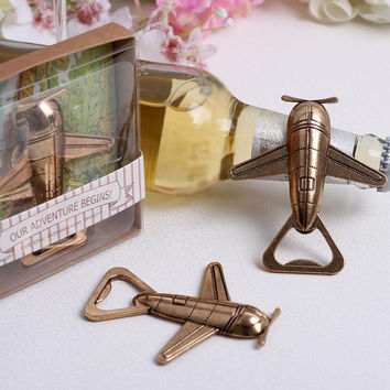1pcs Lovely Cinnamon Air Plane Shape Wine Beer Bottle Opener Metal Openers For Wedding Party Gift Favors