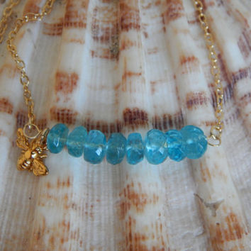Aqua blue apatite, gold vermeil bee charm, boho chic, trendy, beachy chic, layering necklace, bee charm, gold filled chain,