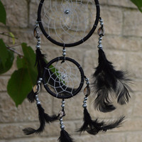 Mystical black double dream catcher with shell detail (Free UK shipping)