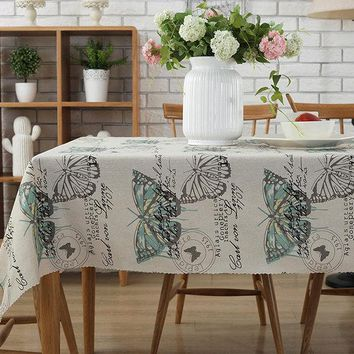 Countryside Style Rural Large Butterfly Cotton Linen Tablecloth Sofa Home Decoration DIY Fabric